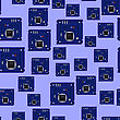 Circuit Board Seamless Pattern Isolated On Blue Background. Part Of Computer