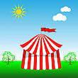 Circus Tent Icon On Blue Sky Background stock vector