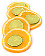 Citrus Fruit Slices Isolated On White Background stock photography