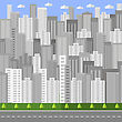 City Background. Architectural Building In Panoramic View. Urban Landscape And City Life. Flat Design