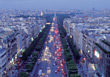 City Traffic at Night, Paris, France stock photo