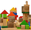 City Of Wooden Blocks Built By A Child stock photo
