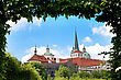 Cityscape Of Prague In Summer. Trees, Leaves, Sky stock photography