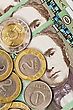 Close Up Of A Lithuanian Money,coins On Banknotes