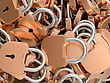 Close-up Of Locked Brass Padlocks. Large Resolution