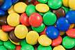 Close-up Of Multicolored Candy Coated Chocolate Sweets stock photo