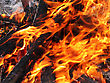Close-up Of Bright And Hot Fire stock photo