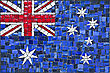 Close Up Of Old Vintage Mosaic Australian Flag With Texture