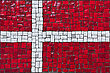 Close Up Of Old Vintage Mosaic Flag Of Denmark With Texture stock image