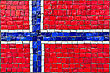Close Up Of Old Vintage Mosaic Flag Of Norway With Texture stock image
