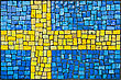 Close Up Of Old Vintage Mosaic Flag Of Sweden With Texture stock photo