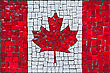 Close Up Of Old Vintage Mosaic Flag Of Canada With Texture
