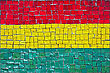 Close Up Of Old Vintage Mosaic Flag Of Bolivia With Texture stock photo