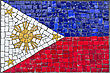 Close Up Of Old Vintage Mosaic Flag Of Philippines With Texture