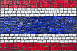 Close Up Of Old Vintage Mosaic Flag Of Thailand With Texture