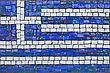 Close Up Of Old Vintage Mosaic Flag Of Greece With Texture stock photo