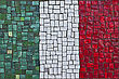 Close Up Of Old Vintage Mosaic Flag Of Italy With Texture