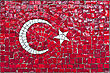 Close Up Of Old Vintage Mosaic Flag Of Turkey With Texture stock photo