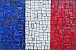 Close Up Of Old Vintage Mosaic Flag Of France With Texture