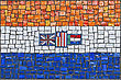 Close Up Of Old Vintage Mosaic Flag Of South Africa With Texture