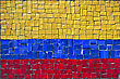 Close Up Of Old Vintage Mosaic Flag Of Colombia With Texture