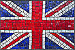 Close Up Of Old Vintage Mosaic Great Britain Or United Kingdom Flag With Texture