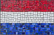 Close Up Of Old Vintage Mosaic Netherland Flag With Texture stock image