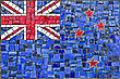 Close Up Of Old Vintage Mosaic New Zeland Flag With Texture stock image