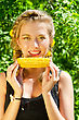 People Eating  Close-up Outdoor Portrait Of Young Beauty Woman Eating Corn-cob stock photography