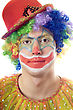 Close-up Portrait Of A Clown. stock image