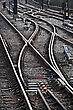 Close Up Of Railroad Tracks On A Sunny Day stock photo