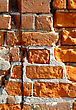 Close-up Of Very Old Rough Brick Wall Background stock image