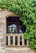 Classical Close-up View Of Antique Balcony With Foliage stock photo