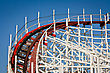Close-up View Of A Wooden Rollercoaster Track stock photo