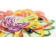 Close-up View To Sliced Vegetables At The Dish stock photo