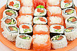 Closeup Japanese Sushi Set At Plate Closeup stock photo