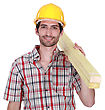 Closeup Of Happy Laborer stock image