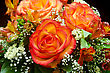 Closeup Of Vibrant Orange Roses Flower Bouquet