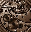 Precision Closeup View Of The Old Mechanism. Abstract Techno Background stock photo