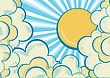 Clouds Poster With Yellow Sun.Cartoons Background