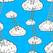 Clouds With Stairs, Seamless Wallpaper stock vector