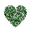 Clover Leaves And Flowers Forming A Heart, Conceptual Graphic For St. Patrick's Day Holiday