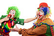 Artistic Clowns Are Fighting For An Apple. stock photo