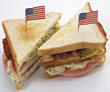 Club Sandwhiches With American Flags stock photography