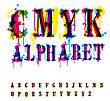 CMYk Alphabet. Composition From Unrecognized Different Letters And Drops And Streaks. Contains Three Separate Layers, Easily Edit And Mix Colors