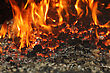 Coal Fire Inside Steam Boiler stock photography