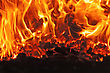 Coal Fire Inside Steam Boiler stock photo