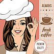 Coffee Advertising Banner With A Beautiful Lady, Vector Format