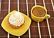 Coffee And Cake On A Wooden Mat stock image