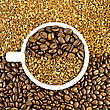 Coffee Beans And Grains In A White Cup On The Background Of The Grains And Coffee Granules